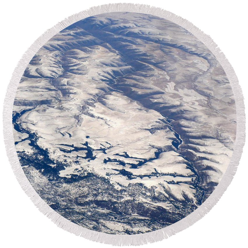 Aerial Round Beach Towel featuring the photograph River Valley Aerial by Carol Groenen