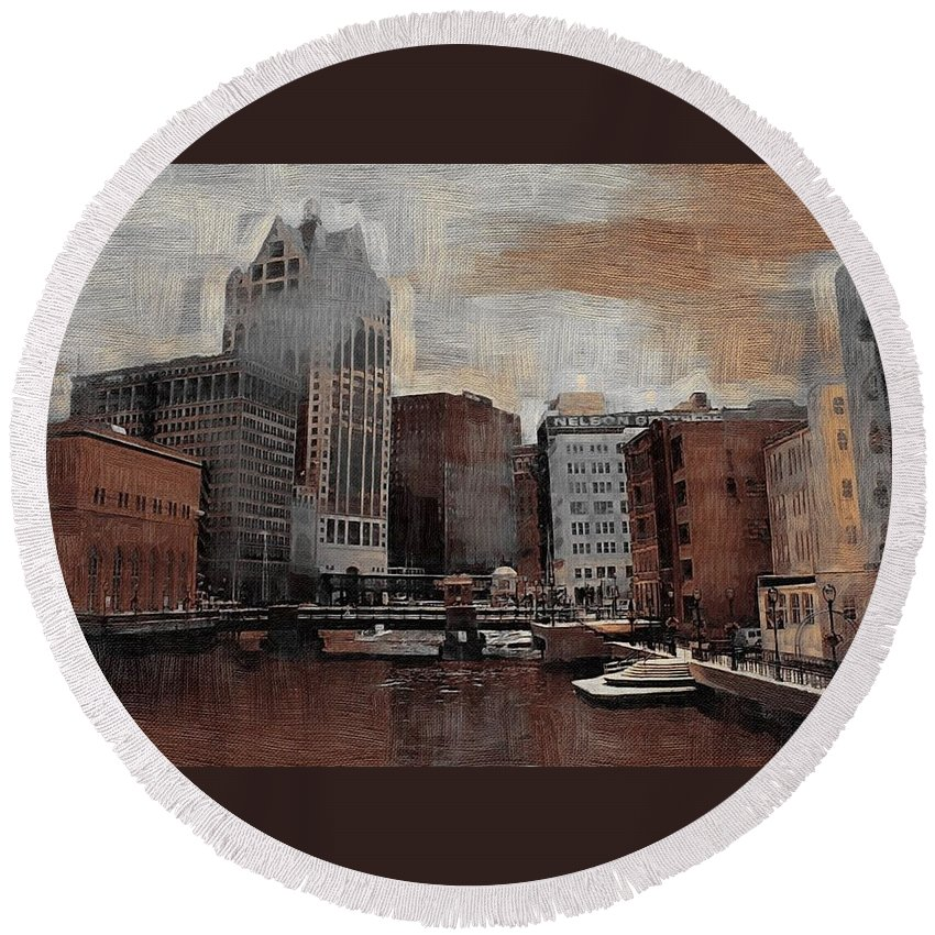 River Round Beach Towel featuring the digital art River View Aged by Anita Burgermeister