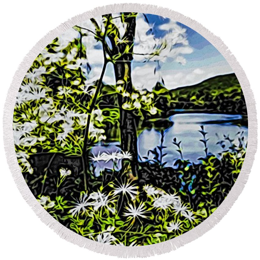 Nature Beauty In Nature Growth Lake Tree Tranquility Plant Water Scenics Day Outdoors Tranquil Scene Sky Flower Fragility Freshness River Lowers Round Beach Towel featuring the photograph River View Through Flowers. On The Bridge Of Flowers. by Mark Sellers
