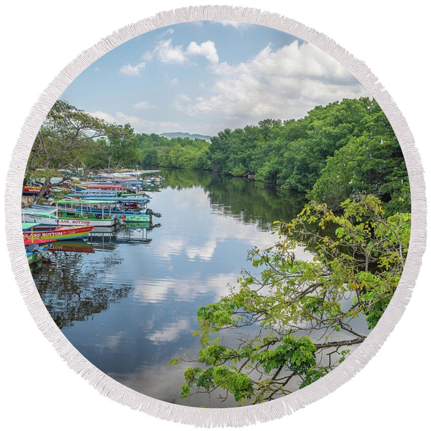Negril Round Beach Towel featuring the photograph River Views by Debbie Ann Powell