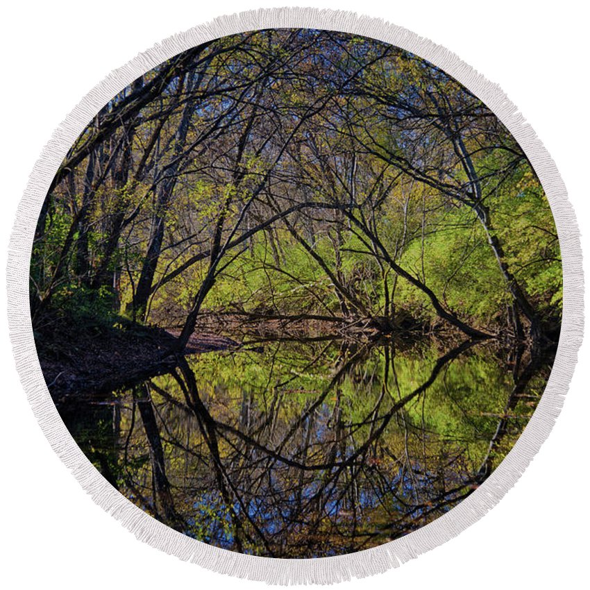 River Round Beach Towel featuring the photograph River Walk Reflections by Stanton Tubb