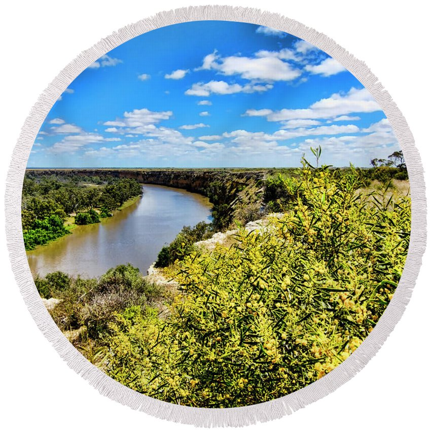 River Round Beach Towel featuring the photograph Riverbend by Douglas Barnard