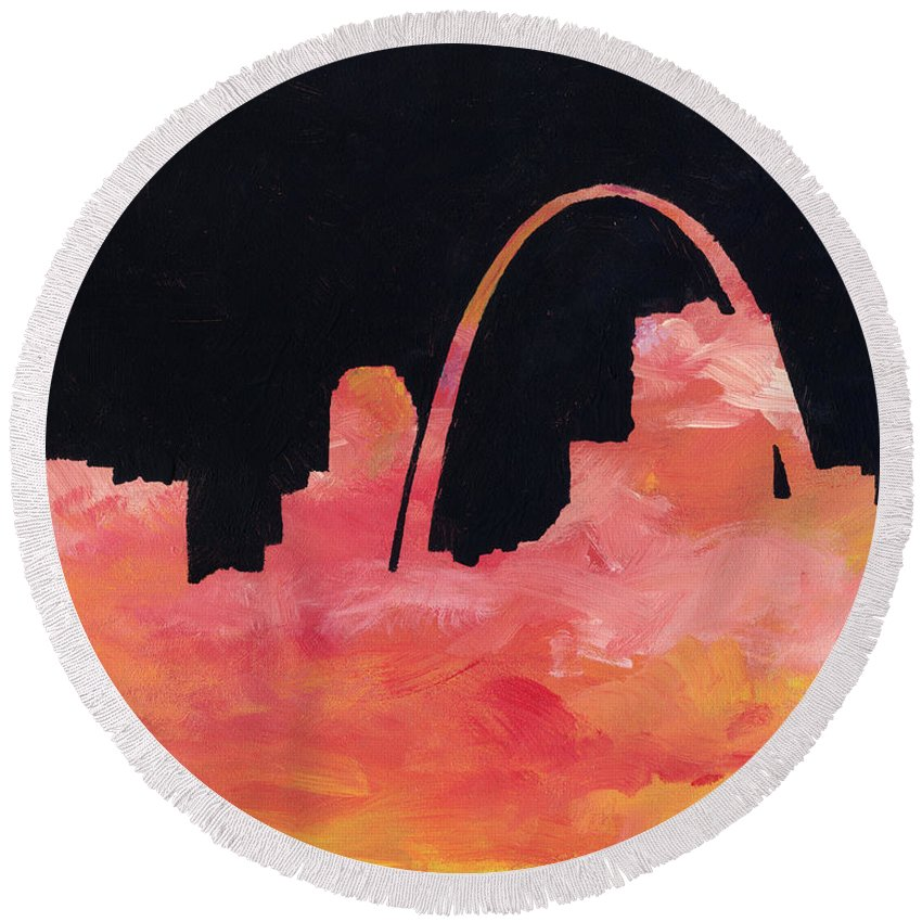 Cityscape Round Beach Towel featuring the painting Riverfront by Joseph A Langley