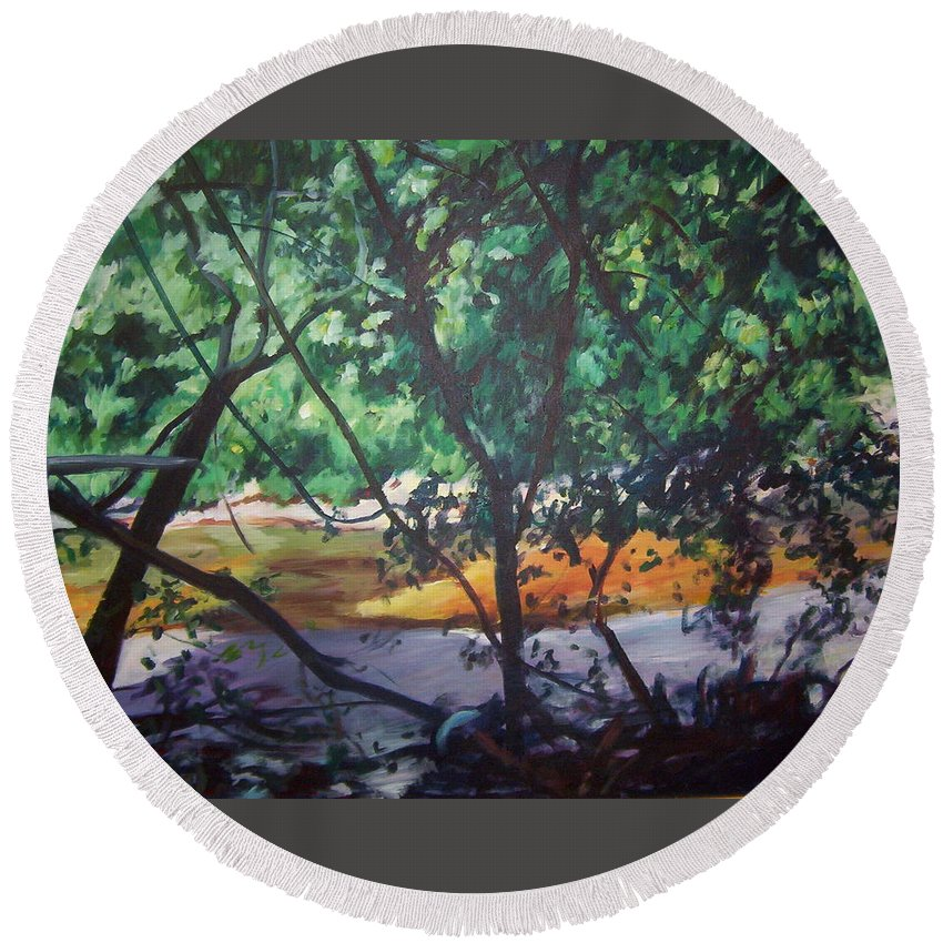 Landscape Round Beach Towel featuring the painting Riverjewels by Sheila Holland