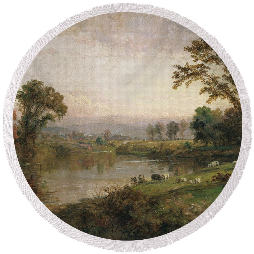 Riverscape - Early Autumn Round Beach Towel featuring the painting Riverscape in Early Autumn by Jasper Francis Cropsey
