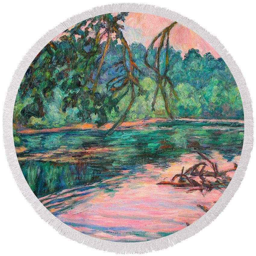 Riverview Park Round Beach Towel featuring the painting Riverview At Dusk by Kendall Kessler