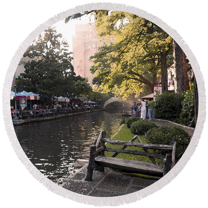 Impressionism Round Beach Towel featuring the photograph Riverwalk Iv by Steven Sparks