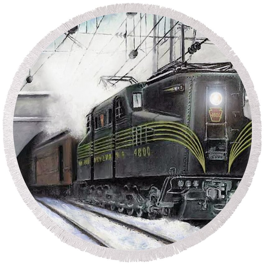 Pennsylvania Railroad Round Beach Towel featuring the painting Rivets by David Mittner