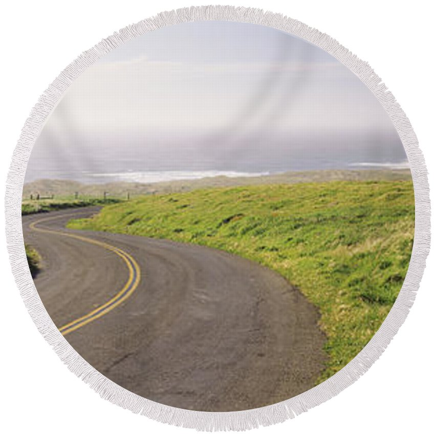 Photography Round Beach Towel featuring the photograph Road Along The Coast, Point Reyes by Panoramic Images
