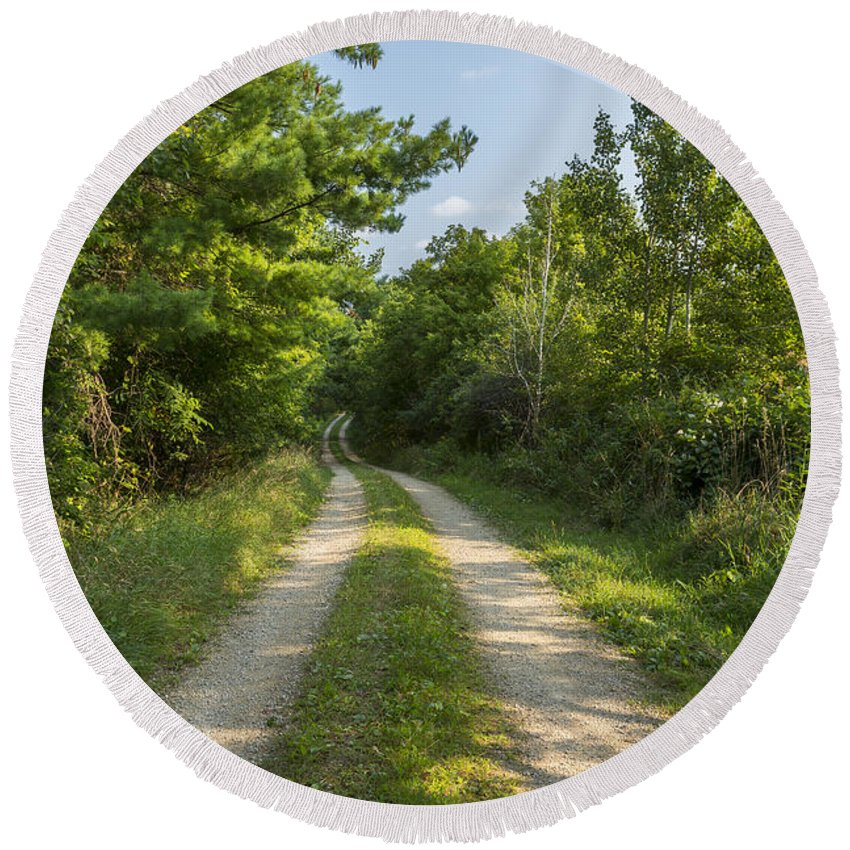 Road Round Beach Towel featuring the photograph Road In Woods 1 F by John Brueske