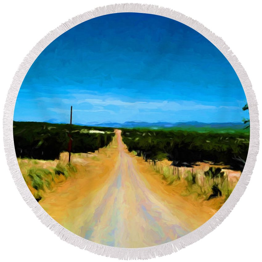 Dirt Road Round Beach Towel featuring the painting Road by Jim Buchanan