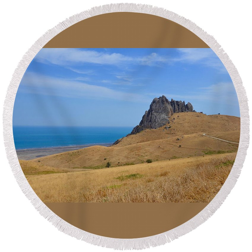 Rock Round Beach Towel featuring the photograph Road To Crag by Rahima Aliyeva
