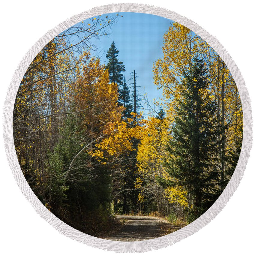 Autumn Round Beach Towel featuring the photograph Road To Fall Colors by Robert Bales