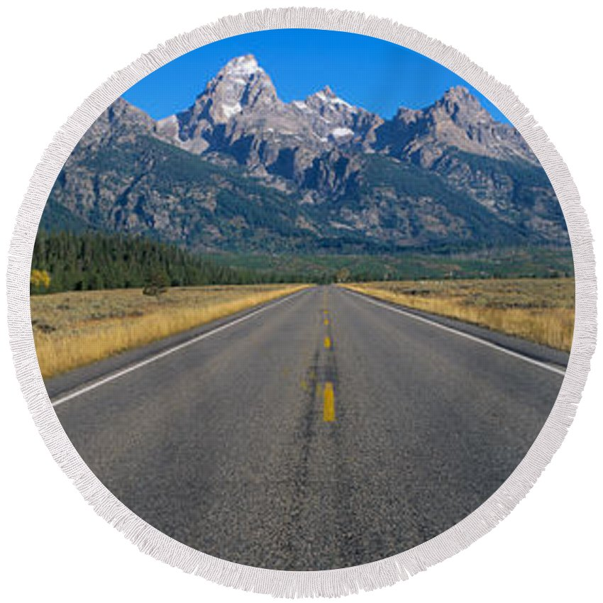 Photography Round Beach Towel featuring the photograph Road To Grand Teton National Park by Panoramic Images