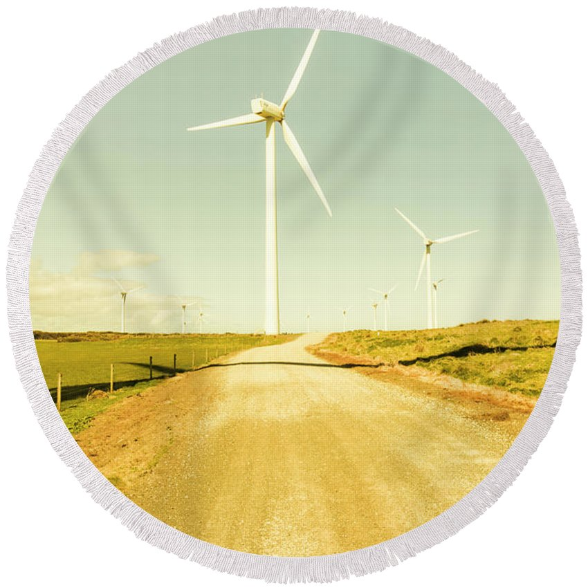 Energy Round Beach Towel featuring the photograph Road To Green Farming by Jorgo Photography - Wall Art Gallery