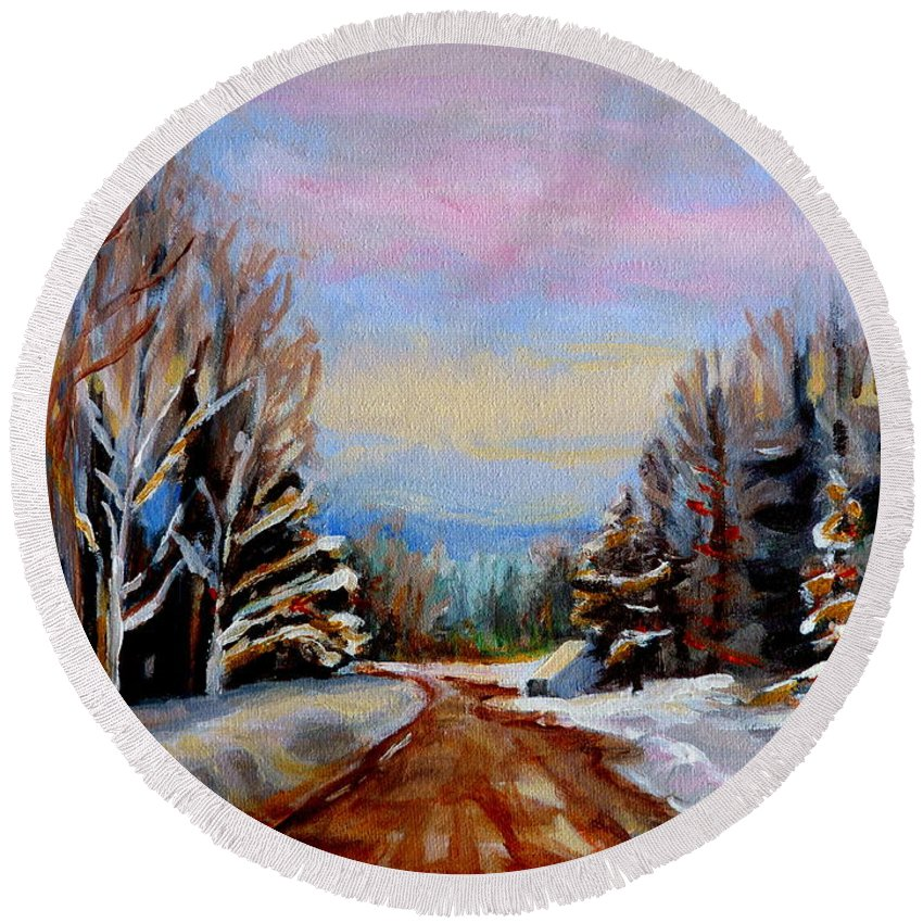 Road To Knowlton Quebec Round Beach Towel featuring the painting Road To Knowlton Quebec by Carole Spandau