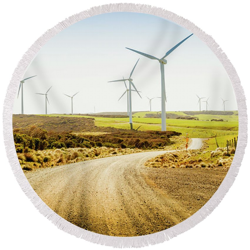 Green Round Beach Towel featuring the photograph Road To Natural Energy by Jorgo Photography - Wall Art Gallery