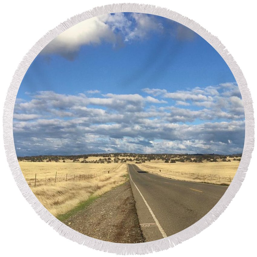 California Round Beach Towel featuring the photograph Road To Nowhere by Dani Keating