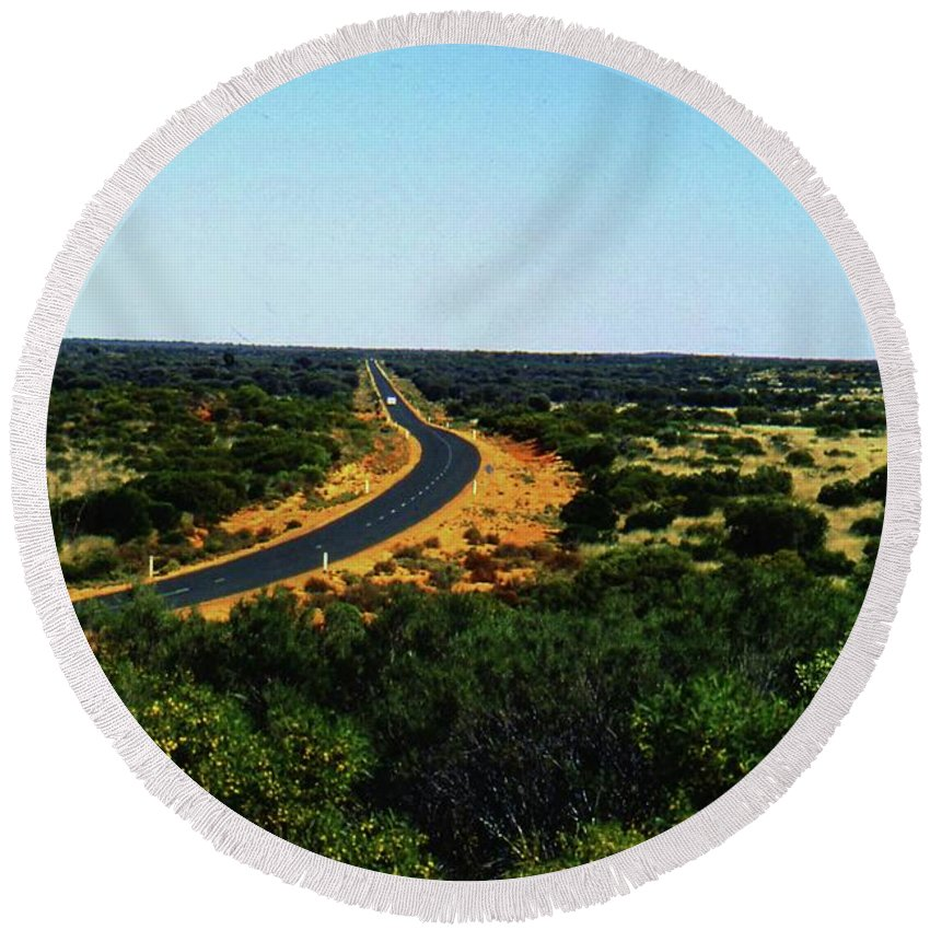 Australia Round Beach Towel featuring the photograph Road To Nowhere by Gary Wonning
