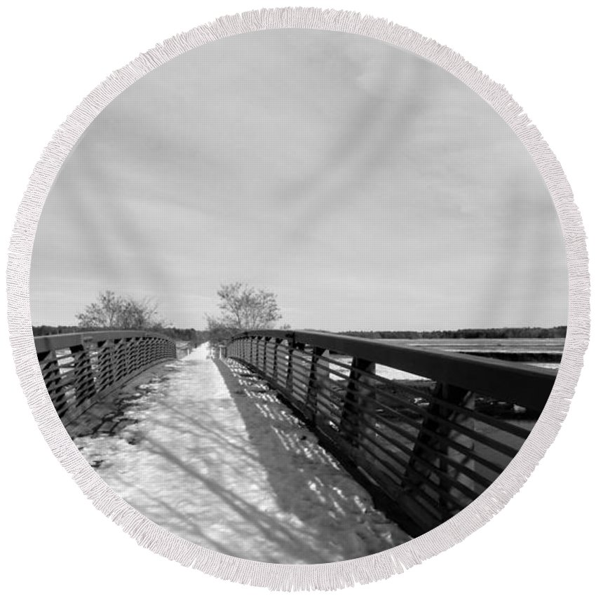 Maine Snow Winter Bridges Round Beach Towel featuring the photograph Road To Nowhere by Scott Welton