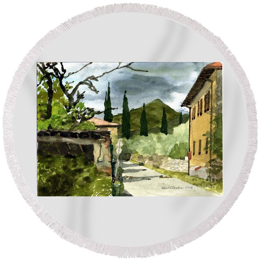 Landscape Round Beach Towel featuring the painting Road To Reggello by Robert Bowden