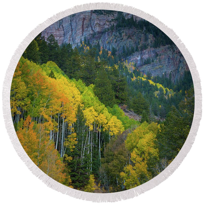 America Round Beach Towel featuring the photograph Road To Silver Mountain by Inge Johnsson