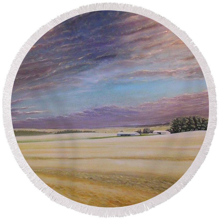 Wheat Round Beach Towel featuring the painting Road to Troy II by Leonard Heid