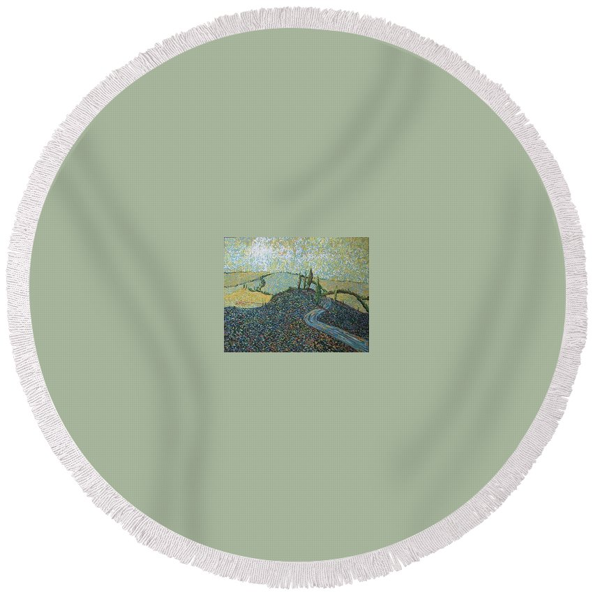 Landscape Round Beach Towel featuring the painting Road To Tuscany by Stefan Duncan