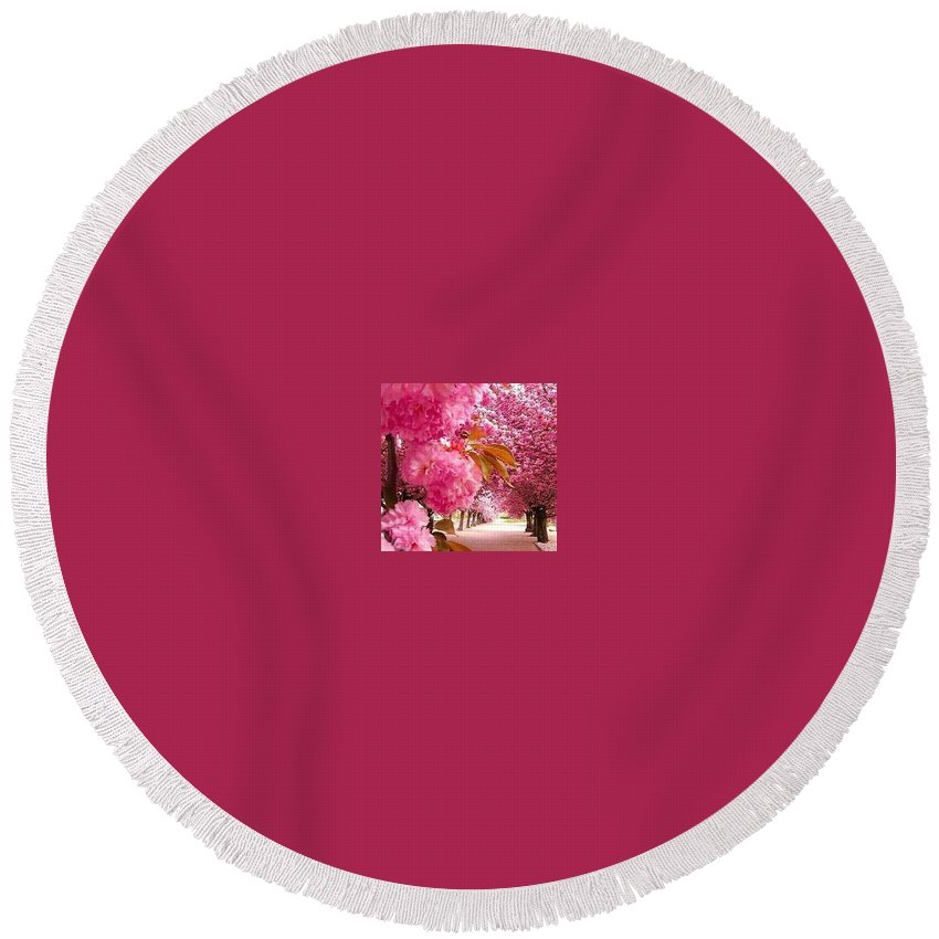 Round Beach Towel featuring the photograph Road View by Jeevana Lakshmi