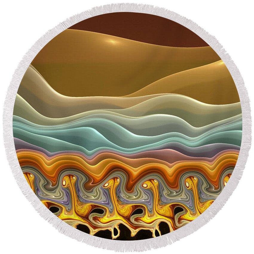 Fractals Round Beach Towel featuring the digital art Roadrunner Races by Amorina Ashton