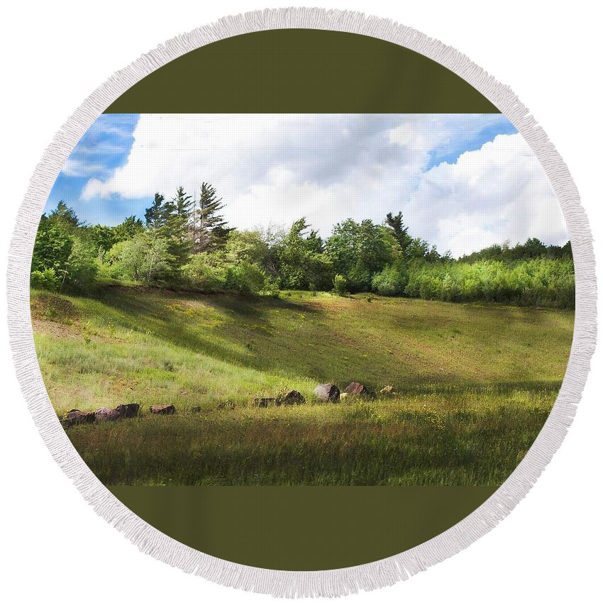 Michigan Round Beach Towel featuring the photograph Roadside Hill by Kendall Tabor