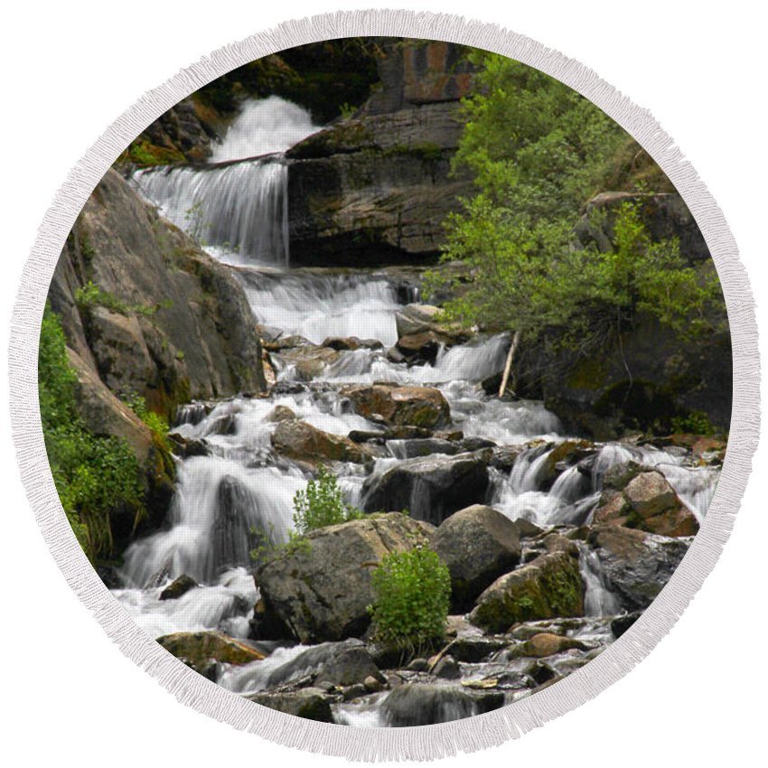 Roadside Stream Round Beach Towel featuring the photograph Roadside Mountain Stream by Mike McGlothlen
