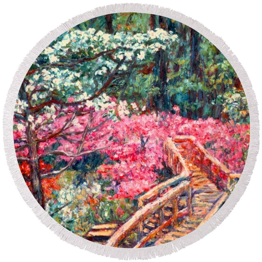 Garden Round Beach Towel featuring the painting Roanoke Beauty by Kendall Kessler