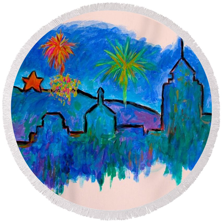 City Round Beach Towel featuring the painting Roanoke In Blue by Kendall Kessler