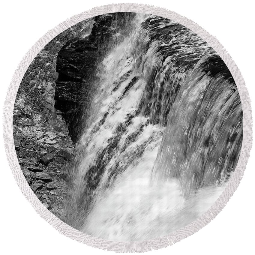Burgess Falls State Park Round Beach Towel featuring the photograph Roar Of The Falls by Bob Phillips