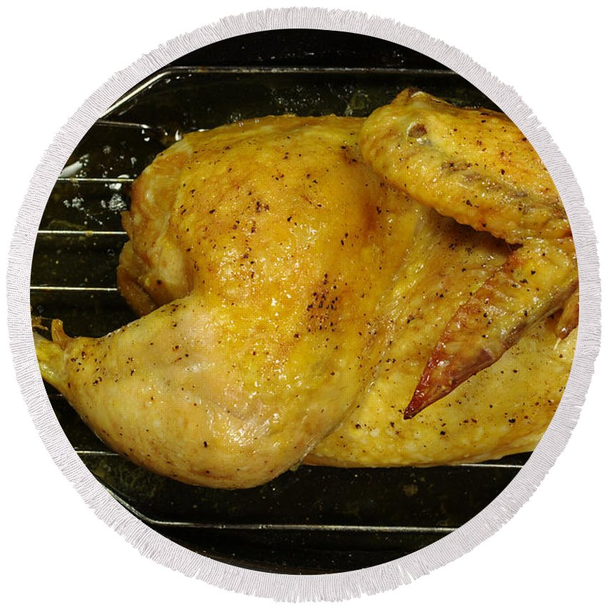 Chicken Round Beach Towel featuring the photograph Roasting Half Chicken, 4 Of 4 by Scimat