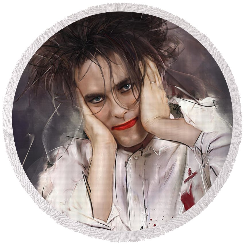 Robert Smith Round Beach Towel featuring the mixed media Robert Smith - The Cure by Melanie D