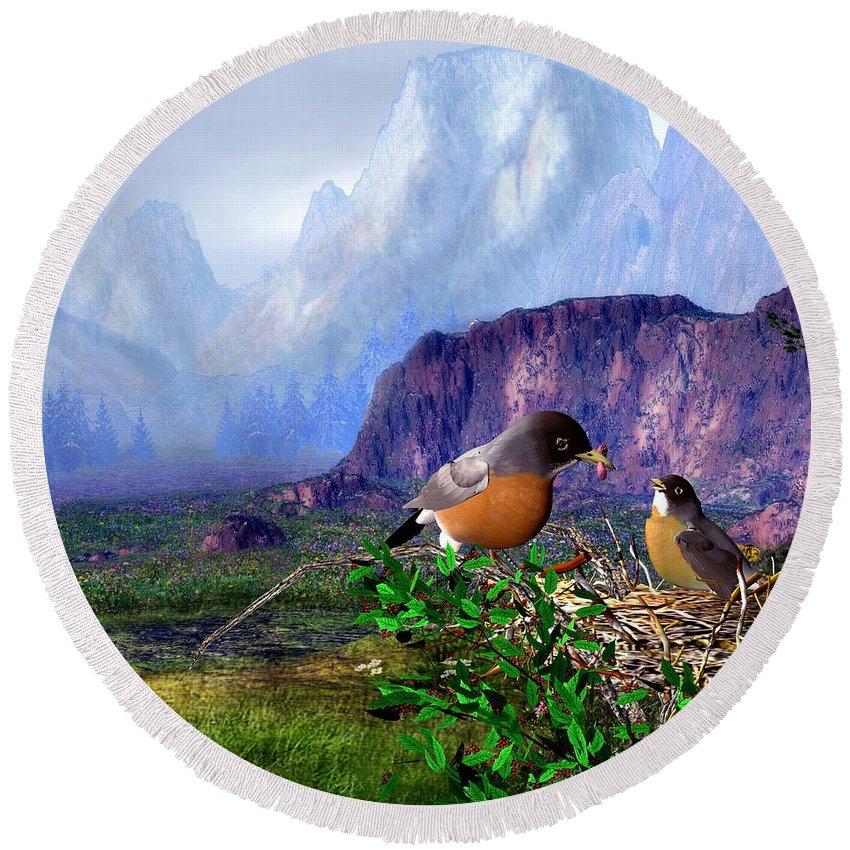 Bird Round Beach Towel featuring the digital art Robin Feeding Baby Robin by John Junek