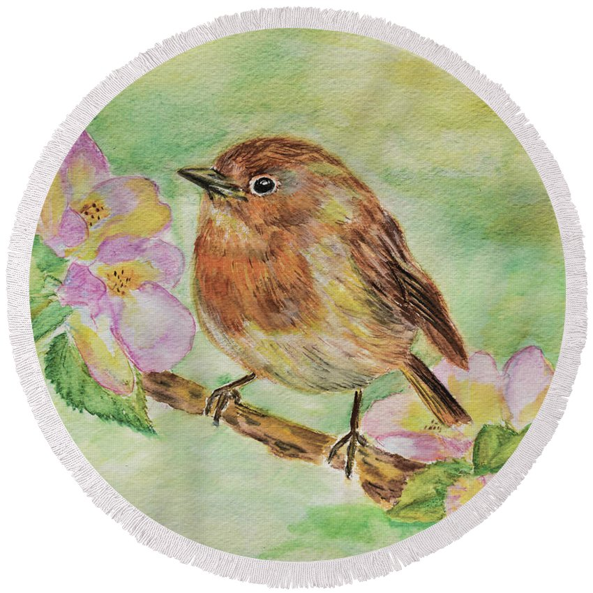 Robin Bird Painting Round Beach Towel featuring the painting Robin In Flowers by Olga Hamilton