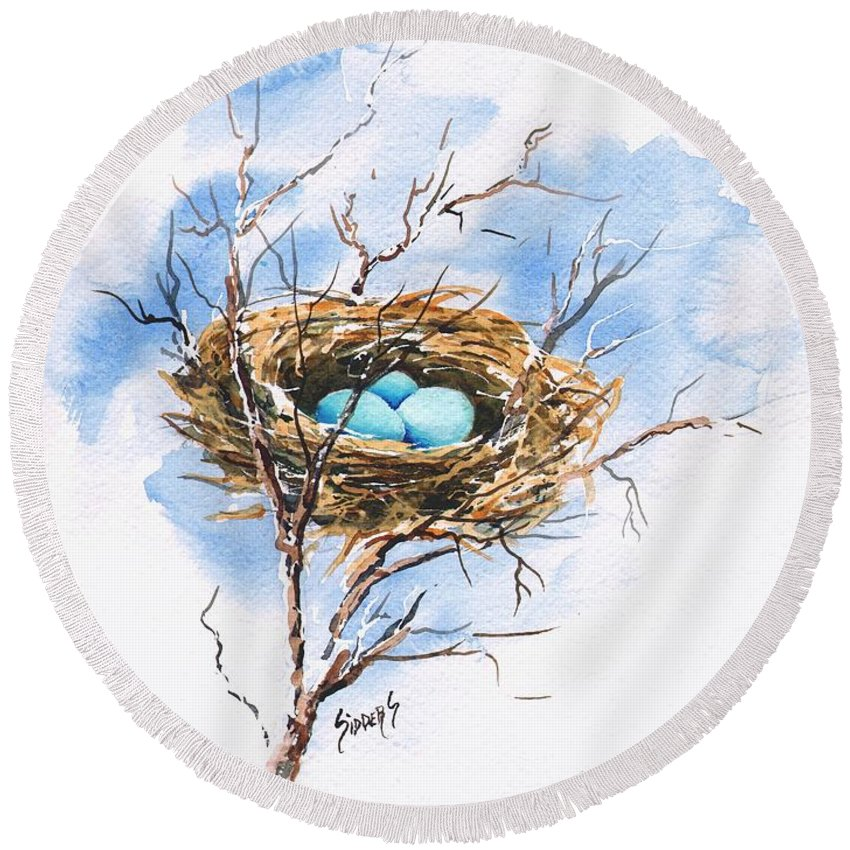 Nest Round Beach Towel featuring the painting Robin's Nest by Sam Sidders