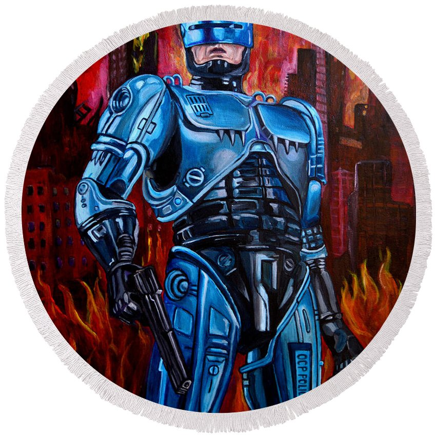 Robocop Round Beach Towel featuring the painting Robocop by Jose Mendez