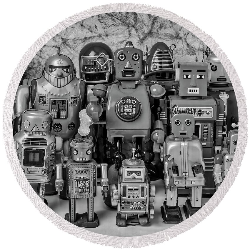 Robots Round Beach Towel featuring the photograph Robot Family by Garry Gay