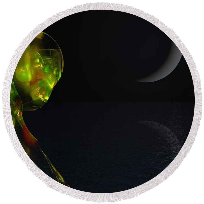 Abstract Digital Painting Round Beach Towel featuring the digital art Robot Moonlight Serenade by David Lane