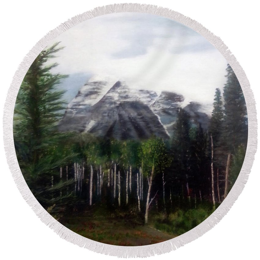 Mountain Round Beach Towel featuring the painting Robson's Spirit by Stuart Kenn
