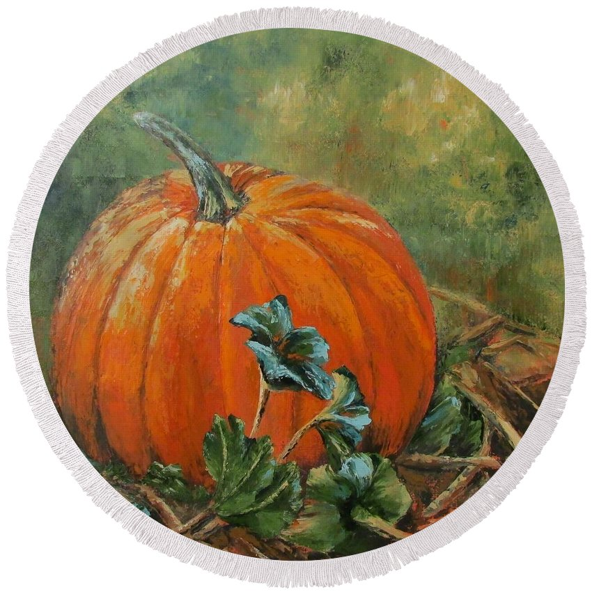 Fall Round Beach Towel featuring the painting Rochester Pumpkin by Rebecca Hauschild