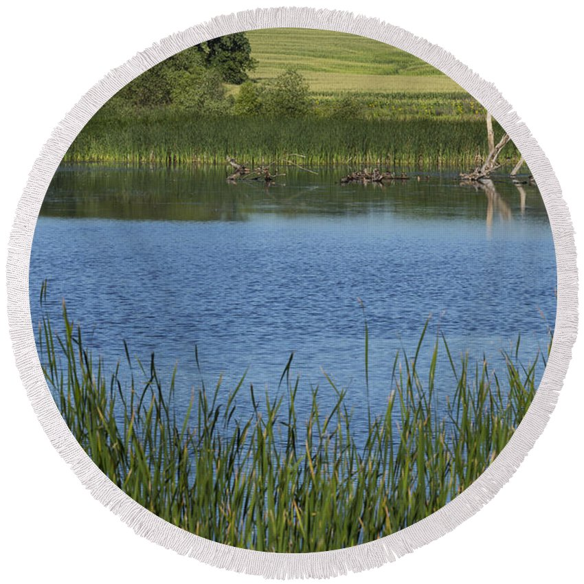 Lake Round Beach Towel featuring the photograph Rochester Wildlife Pond 1 by John Brueske