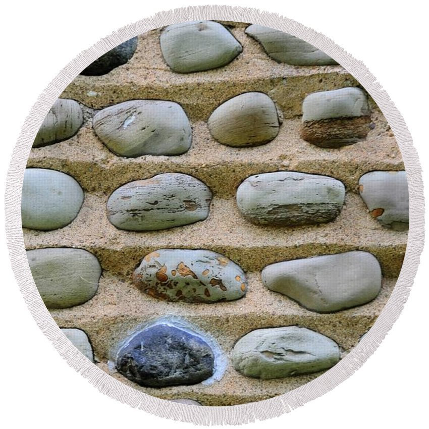 #stone #abstract #nature #color Round Beach Towel featuring the photograph Rock Abstract by Kathleen Struckle