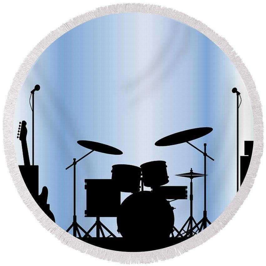Rock Bandm Guitar Round Beach Towel featuring the digital art Rock Band Equipment by Bigalbaloo Stock