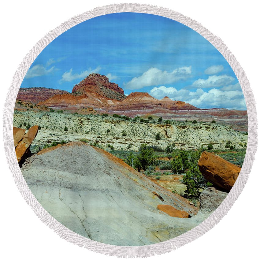 Paria Round Beach Towel featuring the photograph Rock Bits by Jerry Sellers