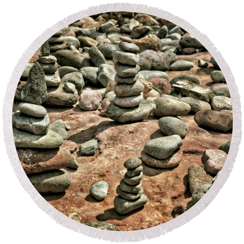 Rock Cairns At Buddha Beach Sedona Round Beach Towel For Sale By